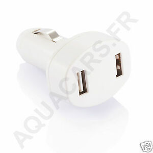 Chargeur Double Sorties USB Blanc 12/24V 800mA / 12A