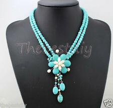 Statement Necklace Turquoise beads  pearl flower choker necklace