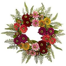 Nearly Natural 4582 Mixed Flower Wreath NEW