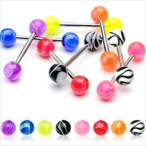 "1 PC 10g 5/8"" UV Acrylic Marble Steel Bar Tongue Barbell Ring UPK Color"