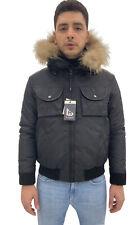 Giubbino bomber uomo R Styled, nero con pelliccia removibile dal cappuccio, -60%