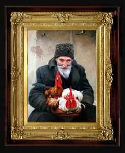 """Oil Painting PRINTED on CANVAS Artwork OLD MAN 24"""" X 18"""" WINTER Artist NO FRAME"""