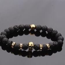 Charm Men's 8mm Beads Handmade Bead Lava  Gold Silver Skull Fashion Bracelets