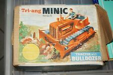 Minic Tri-Ang toy Dozer and box clock work rubber tracks shown signs of wear