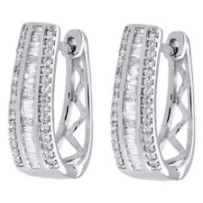 "10K White Gold Baguette Diamond Huggie Ladies Oval Hoop Earrings 0.65"" 0.50 CT"