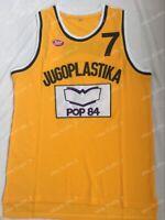 Toni Kukoc #7 Jugoplastika Yugoslavia Men's Basketball Jersey Stitched Yellow