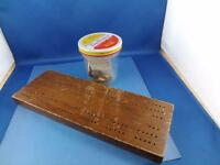 HANDMADE WOOD CRIBBAGE BOARD WITH CARVED PEGS & DICE INSTRUCTIONS
