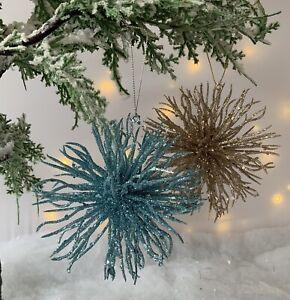 Glitter Sea Urchin Bauble Christmas Tree Decoration Gisela Graham Sea life side