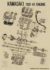 Vintage Kawasaki H1 500 Exploded Engine Motor Diagram Poster 2' x 3' Reprint