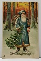 Christmas Greetings BLUE ROBED SANTA with Toys & Tree in Woods TUCK Postcard F14
