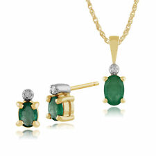 Gemondo 9ct Yellow Gold Emerald & Diamond Oval Stud Earrings & 45cm Necklace Set