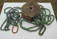 old / modern worn used grubby greeny blue nylon? tow ropes wooden reel nautical.
