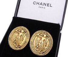 AUTH CHANEL Gold-tone Clip on ANGEL MOTIF EARRINGS, Stamped EC FRANCE, SALE!