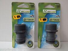 LOT DE 2 Nez de robinet mâle gros débit bi-matière Soft touch 26x34mm Ribiland