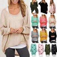 Women Long Sleeve Baggy Top Blouse Oversized Sweater Jumper Sweatshirt T Shirts