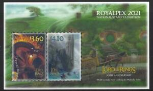 NEW ZEALAND 2021 ROYALPEX '21, LORD OF THE RINGS MINIATURE SHEET UNMOUNTED MINT