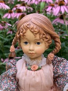 "DOLFI 13"" ADO SANTINI CARVED WOOD GIRL DOLL ""MONICA"" w/ ORIGINAL BOX SIGNED 1988"