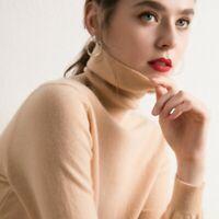 Women's Slim Knitted Turtleneck 100% Cashmere Jumper Pullover Elasticity Sweater