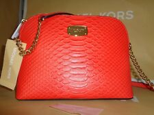 NWT MICHAEL KORS CINDY Large DOME Mandarine Leather Crossbody Shoulder Bag $188