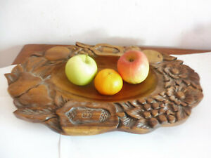 VINTAGE HAND  CARVED HARD   WOODEN FRUIT BOWL / DISH