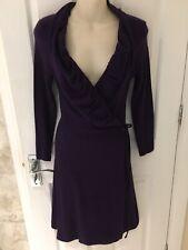VIVIENNE WESTWOOD Anglomania Purple Wool Blend WRAPOVER Dress Sz M