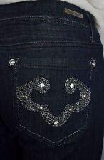 NWT LA IDOL Embroidered Crystal Pocket Dark Blue Denim Jeans Size 11