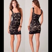 FREE PEOPLE INTIMATELY Black Seamless Medallion Sweetheart Lace Dress  Size XS/S