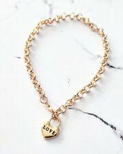 Yellow gold love heart charm padlock fashion jewelry beltcher chain bracelet