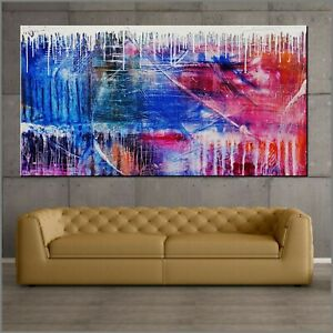 Colourful Grunge Abstract Art Painting Textured Canvas 190cm x 100cm Franko