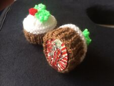 Mini Christmas pudding hand knitted teacake cover table decoration