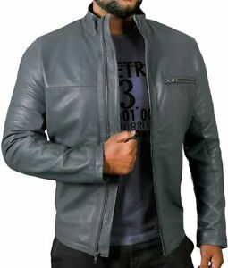Cafe Racer Casual Mock Collar Grey Motorcycle Classic Motorbike Leather Jacket