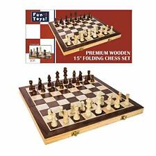 "Wooden Chess Game Set Large 15"" Board Wood Folding Storage Box Hand Carved Piece"