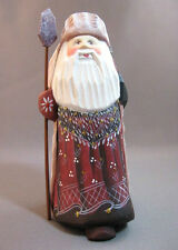 Russian hand carved painted Santa signed