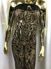 GOLD Sequins Fabric 4 Way Stretch By The Yard Fashion-Prom-Drees Black Mesh