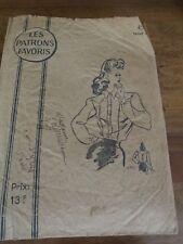 ANCIEN PATRON Favoris & Parisiens -Vintage French ANNEE 1940 BLOUSE CHEMISIER 44