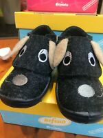 Befado-Kids Blue Puppy Ear Soft Wool Felt Slipper - Non-Slip, Velkro, sz 22/5.5