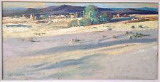 "Vintage Landscape Painting Listed Signed Val A Samuelson ""Homesteads"" Impasto"