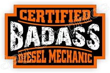 Badass DIESEL MECHANIC Hard Hat Sticker | Motorcycle Helmet Decal