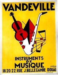 Original vintage poster VANDEVILLE JAZZ MUSIC INSTRUMENTS c.1940