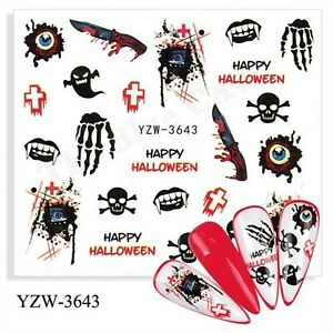 Nail Art Stickers Water Decals Transfers Halloween 2021 Skull, Knives, Cross