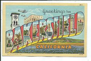 Bakersfield CA California Curteich Large Letter Linen Postcard