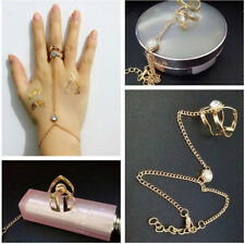 1PC Punk Jewelry Women Lady Rhinestone Crystal Gold Plated Ring Bracelets NEW