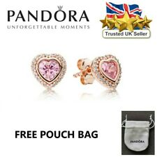 PANDORA Rose Gold Ale 925 Elevated Heart Stud Round Earrings Gift 288427C01
