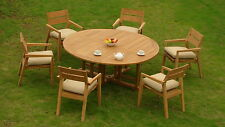 "7 PC OUTDOOR DINING TEAK GARDEN SET - 72"" ROUND TABLE, 6 STACKING ARM CHAIRS CEL"
