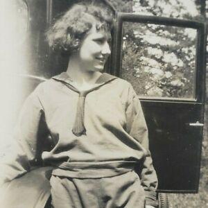 Oregon 1920s Pretty Woman Camping Ford Model T Car Multnomah County Photo J6