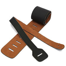 Vintage Extra Wide Soft PU Quality Leather Guitar Strap with Buckle Black