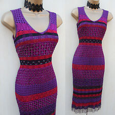 KAREN MILLEN Black Purple Red Hand Crochet Beaded Wiggle Bodycon Dress SZ 1 UK-8