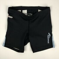 New saucony womens Shorts Size L Large Black  Stretch ampro trining