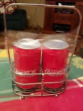 Coca Cola Collector Metal Can Salt & Pepper Shakers With Caddy Coke