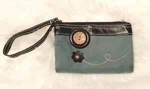 CHALA Mini Wristlet Wallet Dbl. Zip Coin Credit Card Purse Clutch Vegan Leather